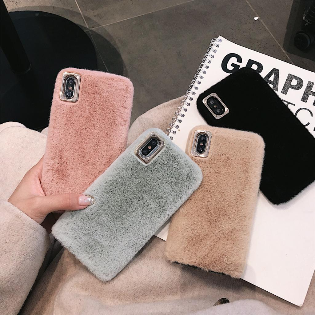 Simple Fur <font><b>Case</b></font> For <font><b>iphone</b></font> 7 8 Plus X XS Max XR <font><b>iphone</b></font> 5.8 6.1 6.5 2019 6 6s Plus 5 <font><b>5s</b></font> se <font><b>Case</b></font> Winter Warm Keep Cover image