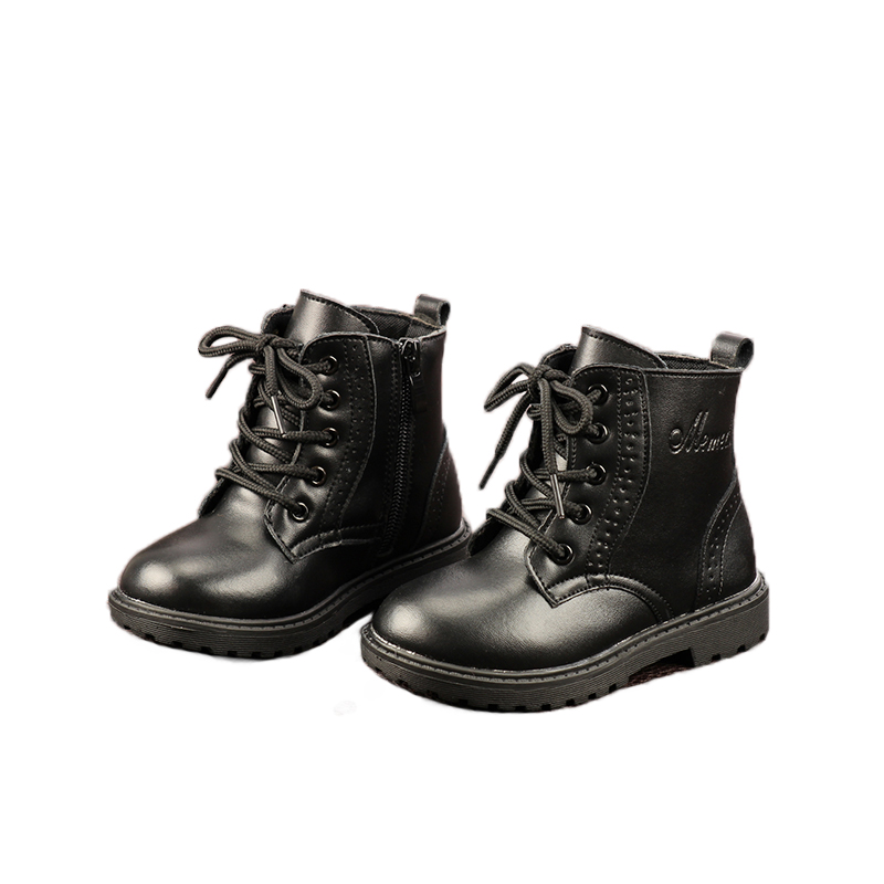 Kid Martin Boots Leather Boots Boys Girls Fashion Motorcycle Boots Soft Bottom Princess  Wear-resistant Warming Waterpoof Boots
