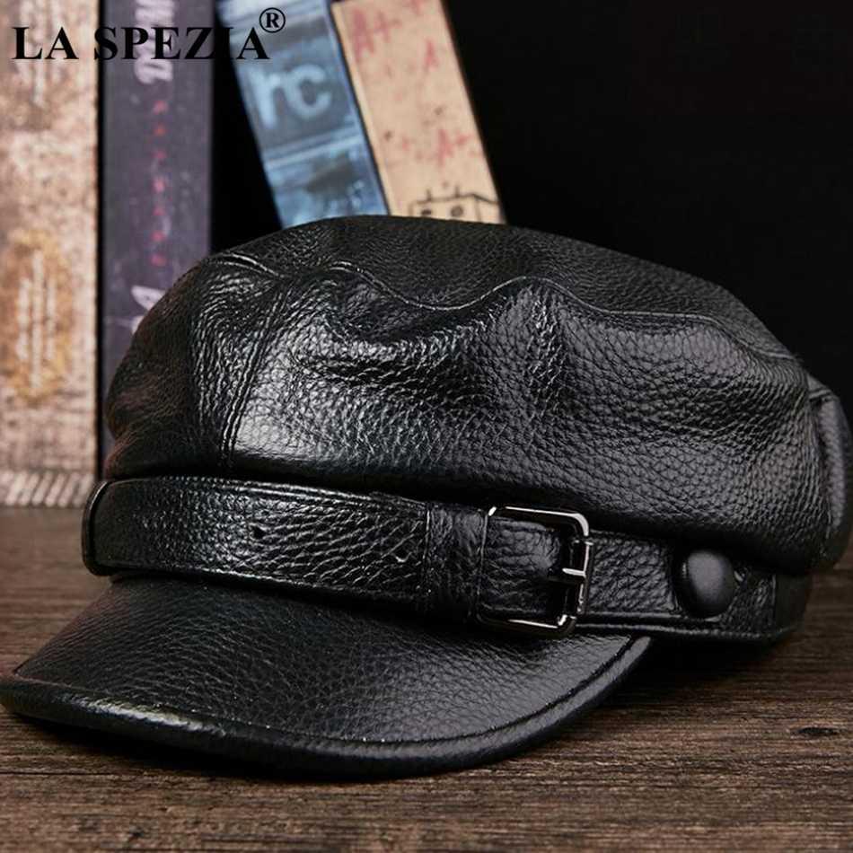 لا SPEZIA 2019 العلامة التجارية قبعة عسكرية بحار الرجال البني حقيقية جلد البقر الشتاء بيكر الصبي قبعات الذكور حزام أعلى جودة الكابتن قبعة