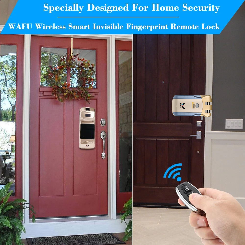 WAFU WF 018B Smart Invisible Fingerprint Remote Lock Keyless Entry Door Lock Security Anti theft Locks with Fingerprint Keypad in Electric Lock from Security Protection