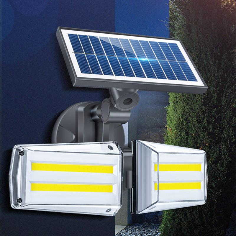 SOLLED 80LEDs Solar Light Outdoor Waterproof Double-Head Motion Sensor COB Wall Lamp For Home Garden Yard