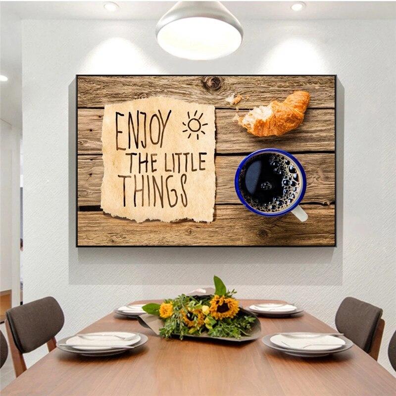 Современные мотивационные фразы в завтрак хлеб и Кофе кухонный плакат и принты картины на холсте Еда изображение для Обеденная украшения