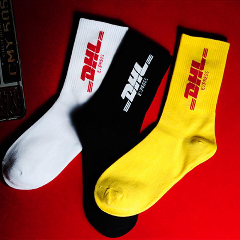 Mens Crew Cotton DHL Express Hip Hop Socks Vetements Style Letter Print Hipster Men Woman Street Fashion Sock Skaterboard Game