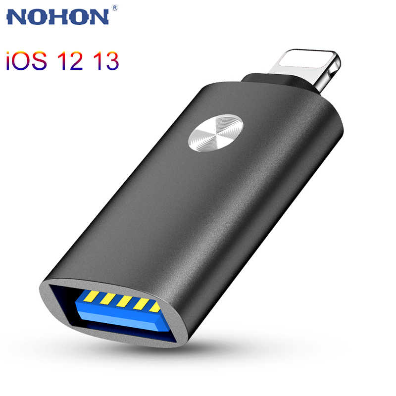 NOHON Famale convertitore adattatore da USB a Lightning Camera Data SD Card U Disk Short OTG per iPhone 11 Pro XS MAX XR X 6 6S 7 8 Plus