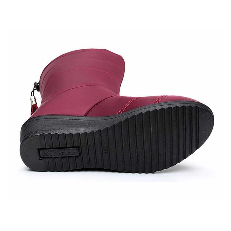 2019 meados de bezerro botas femininas sapatos de inverno feminino botas de inverno senhoras à prova dwaterproof água botas de neve de pele quente cunhas