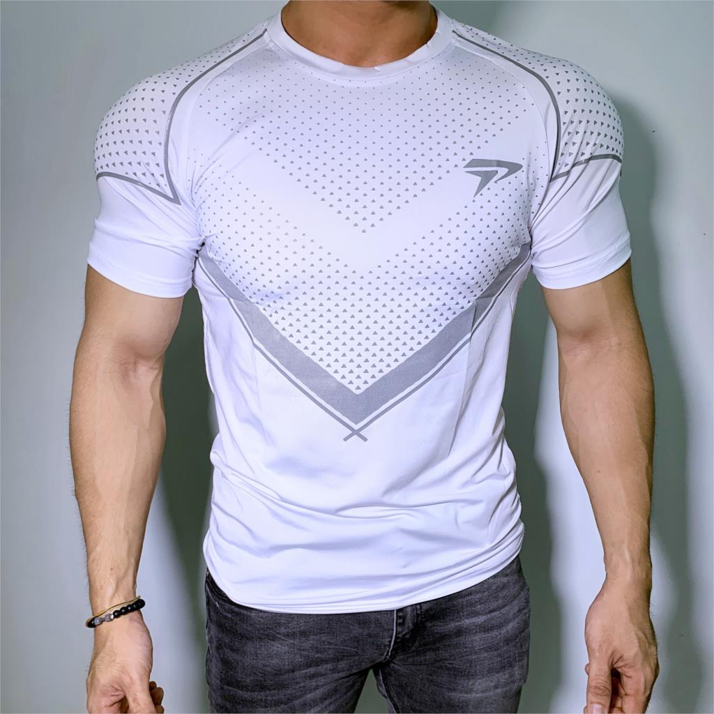 New Running Sport T-shirt Mens Skinny Quick dry Shirts Gym Fitness Training Superelastic Tee Tops Male Jogging Workout Clothing 2
