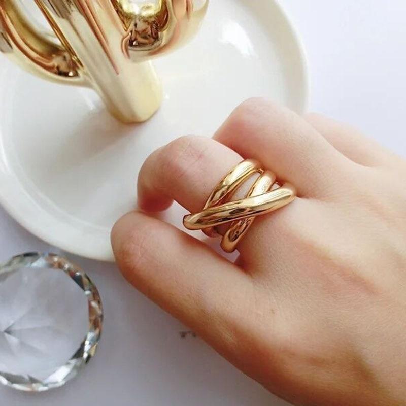 SRCOI 2019 New Korean Geometric Simple Multi-layer Hollow Cross Gold Shining Opening Metal Minimalist Chunky Rings Women Gifts