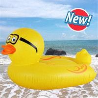 Giant Inflatable Yellow Duck Floating Row Inflable Bed Air Mattress for Water Toys Sea Swimming Pool Beach Animal Float Board