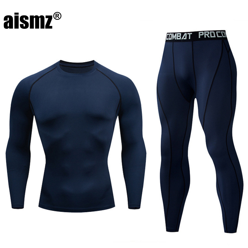 Aismz New Winter Men Thermal Underwear Sets Elastic Compression Set Long Johns For Men Polartec Breathable Thermo Sports Suits