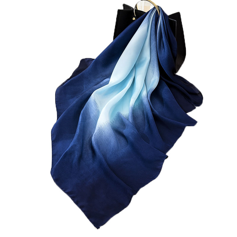 Fashion Women Scarf Luxury Brand Hijab 100% Silk Feeling Shawl Scarf Blue Foulard Square Head Scarves Wraps 2019 NEW 90x90cm