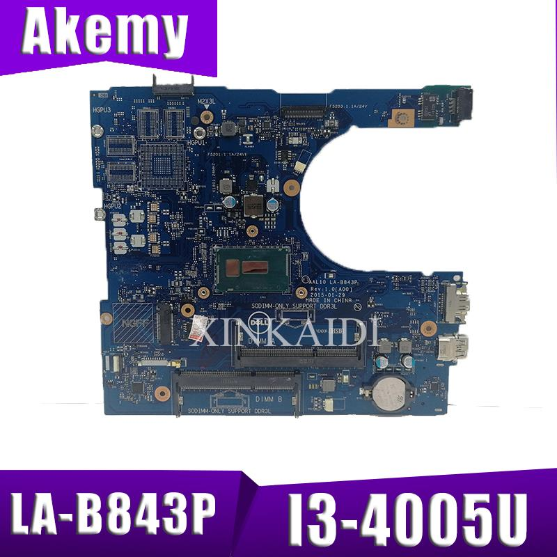 CN-05K7K8 5K7K8 FOR Dell Vostro 5458 5558 Laptop Motherboard AAL10 LA-B843P I3-4005U VGA Port Mainboard