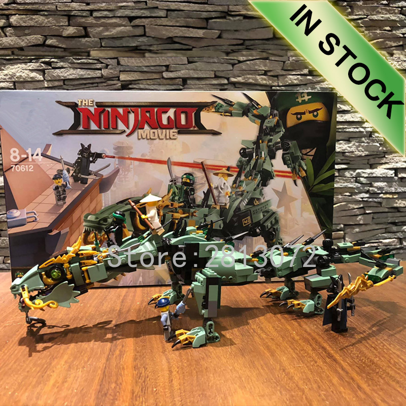 In Stock Green Ninja Mech Dragon Model 10718 573Pcs Building Blocks Bricks Toys Compatible with <font><b>70612</b></font> 06051 Toys image