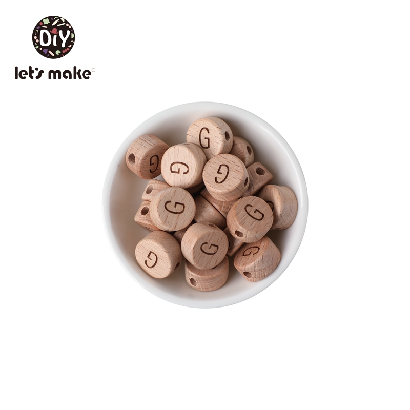 Let's Make Wooden Teether Beads English Alphabet Letter 52pcs Beech Custom Personalized Name DIY Pacifier Chain Baby Goods Toys
