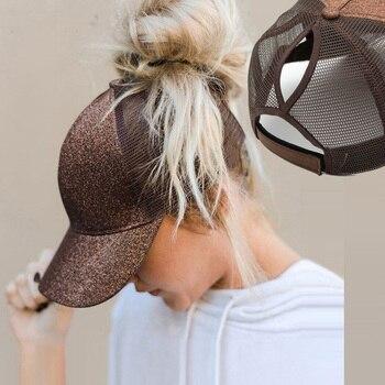 2021 Glitter Ponytail Women's Baseball Cap Women Snapback Mesh Trucker Caps Female Summer Bone Black Adjustable Hip Hop Hats/Cap