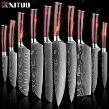 XITUO Kitchen Knife Set Imitation Damascus Pattern Professional Chef knife Meat Cleaver Slicing Santoku knife Kitchen Accessory