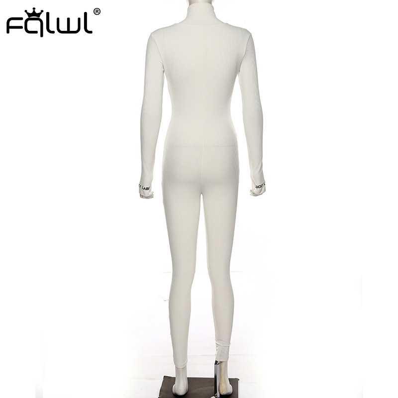FQLWL Streetwear Weiß Schwarz Gestrickte Sexy Bodycon Overall Frauen Overalls 2019 Lange Hülse Dünne Strampler Frauen Overall Weibliche