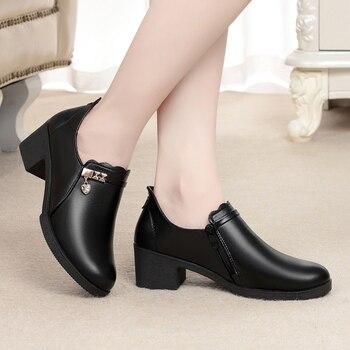 ZZPOHE Autunno della Molla di Modo Donne scarpe tacco alto Scarpe Da Donna Zeppe In Pelle di Alta Scarpe Tacchi Della Signora casual Scarpe Comode 1