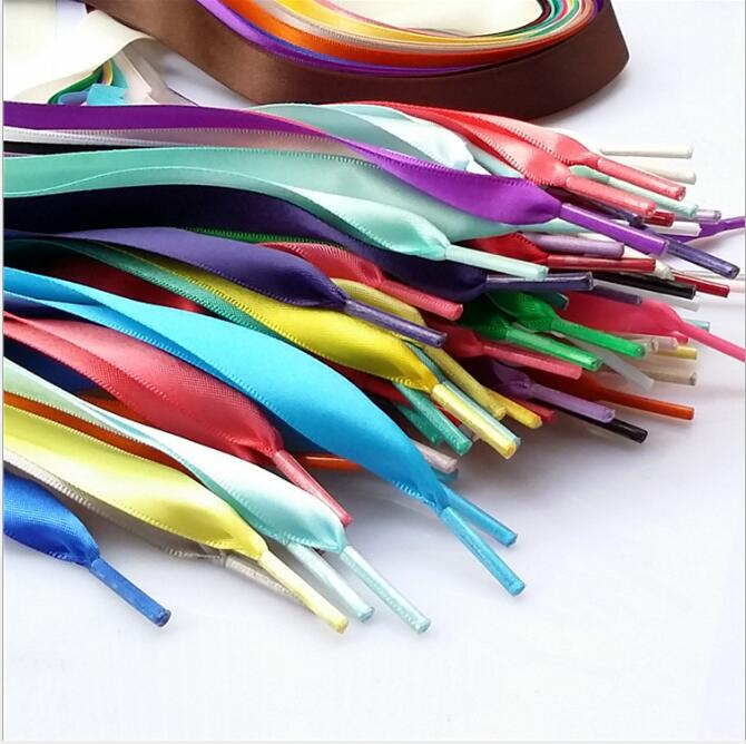 Fashion Flat Silk Shoe Laces Colorful Satin Silk Ribbon Shoelaces Sneaker Shoe Strings 2cm Wide 120cm Long Shoelaces