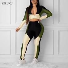 Seluxu Sexy Color Contrast Long Sleeve Zip Jacket Bodycon Pants Two-piece Women's Fashion Casual Suit African Style Clothing