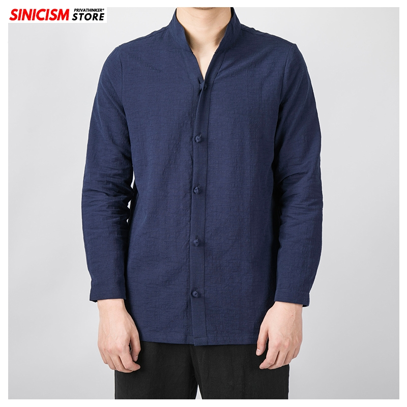 Sinicism Store 2020 Men's Solid Stand Collar Spring Shirts Men Long Sleeve Chinese Style Shirt Male Fashion Cotton Linen Shirts