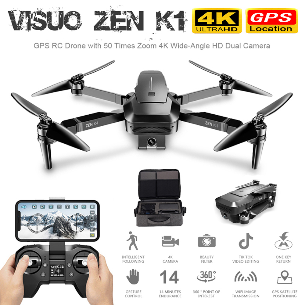 K1 4K GPS Drone Brushless Dual Camera HD 50 Times Zoom 5G WIFI FPV Quadrocopter Flight Professional Helicopter VS SG906 F11 B4W