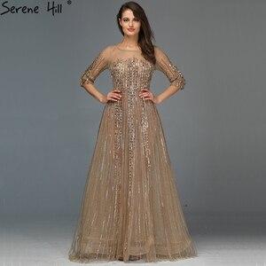 Image 1 - Gold Dubai Design Langen Ärmeln Abendkleider 2020 A Line Luxus Perlen Kristall Abendkleider Real Photo LA70170