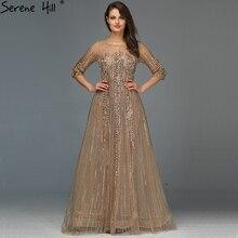 Gold Dubai Design długie rękawy suknie wieczorowe 2020 line luksusowe frezowanie kryształowe suknie wieczorowe Real Photo LA70170