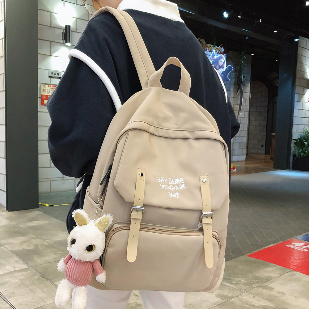 Women Student Cute Backpack Waterproof Nylon School Bag Girl Kawaii Fashion Backpack Buckle Laptop Female Book Bag Ladies Luxury