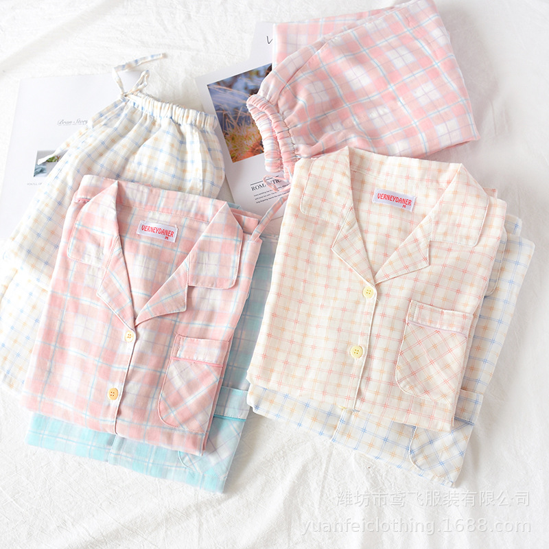 Couple 100% Cotton Polka Dot Printing Long Sleeve Pajama Set Plus Size Turn-down Collar Men And Women Two Piece Home Clothes