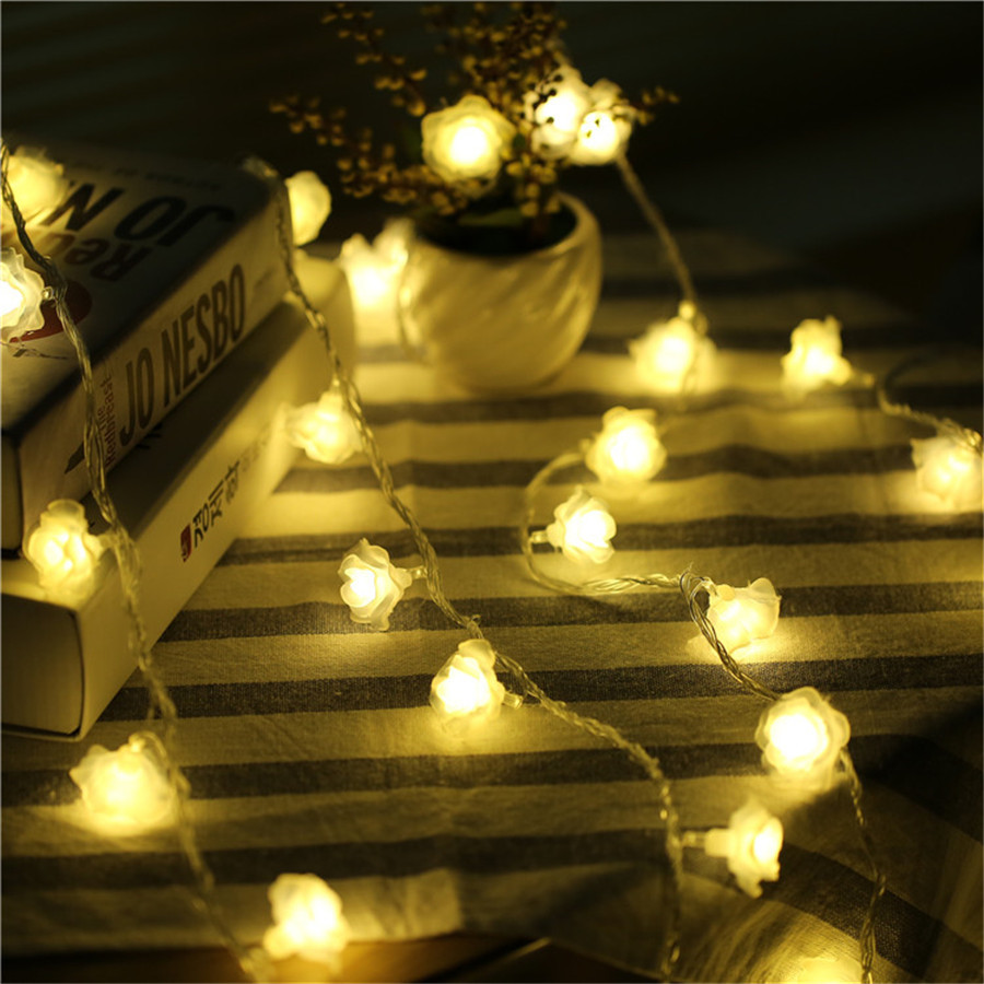 Thrisdar 10M 20M 30M 50M 100M Rose Flower Fairy String Light Christmas Flower Garland Light Wedding Party Valentine's Day