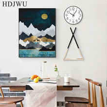 Modern Simple Luxury Abstract Decoration Painting Mountain Printing Wall Poster for Living Room DJ312