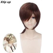 Ktip Up Vocaloid Kagamine Len Short Brown Heat Resistant Hair Cosplay Costume Wig + Wig Cap haikyuu volleyball oikawa tooru short brown shaggy layered cosplay wig cap girls cosplay wig free shipping
