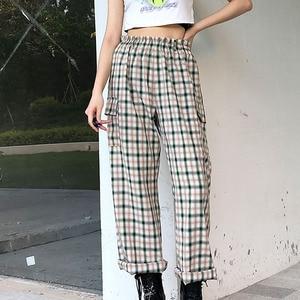 NCLAGEN New Prep Ретро клетчатые прямые брюки с высокой талией уличная одежда повседневные брюки женские винтажные спортивные брюки коллаж брюки