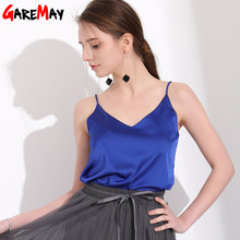 GAREMAY Sexy Silk Top Tank Women Slim Sexy Sleeveless Shirt Womens Basic Camisole Halter Tank Top Summer Tops For Women 2019(China)
