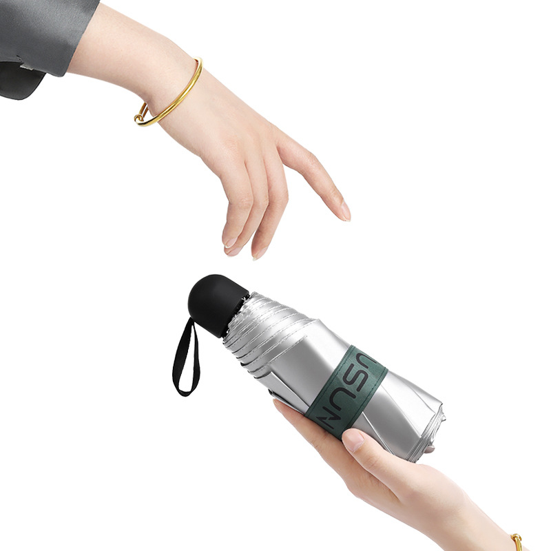 Half Off 8 Bone Titanium Silver Parasol UV-Protection Cooling Small And Portable Ultra-Light Five-fold Umbrella UPF50 +