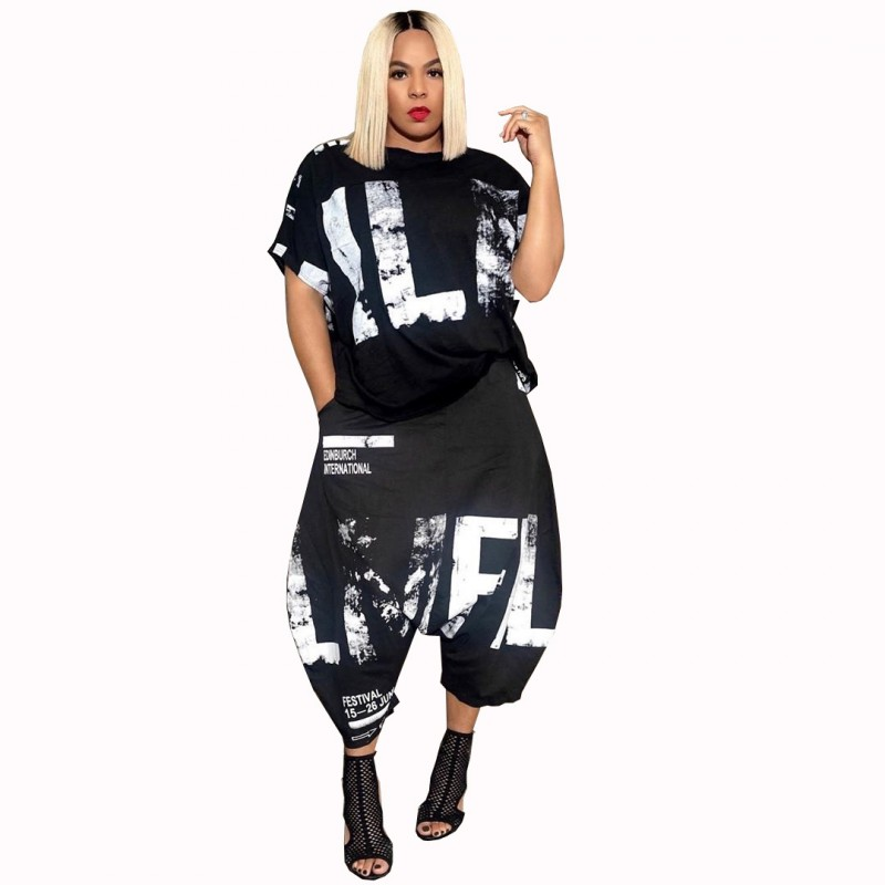 5XL 4XL Letters Print Casual 2 Piece Set For Women T Shirt Tops And Harem Pants Outfits 2020 New Fashion Hip Hop Lounge Wear Set
