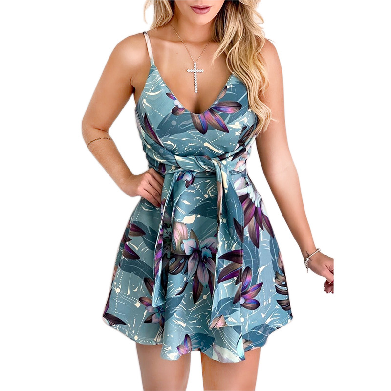 Dress Women Summer New Sexy Beach Dress Deep V Neck Print Sleeveless Strappy Tie Up Flare Short Mini Dress Casual Slim Femme