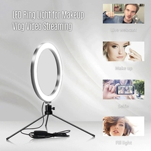 6Inch Table LED Ring Light 3200-5600K 3 Colors 10 Levels Brightness Adjustable with Tripod Stand for Live Stream Makeup Portrait