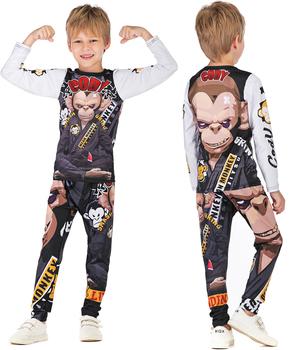 Rashguard dla dzieci MMA 3D kompresja dla dzieci boks BJJ Jersey + spodnie Jujitsu mma ropa spodenki chłopiec siłownia T shirt + spodnie sportowe tanie i dobre opinie Chłopcy Pasuje prawda na wymiar weź swój normalny rozmiar Zwierząt Anty-pilling MC88 O-neck Poliester Pełna Mma Rashguard Sets