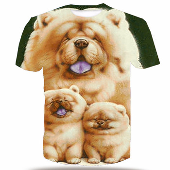 UNEY Chow Chow T-shirt For Men Dog T-shirt Tops Tees 3D Pattern Shirt For Men Funny Face Tops Lovely Chow Chow Top Plus Size mesh panel plus size girl face t shirt