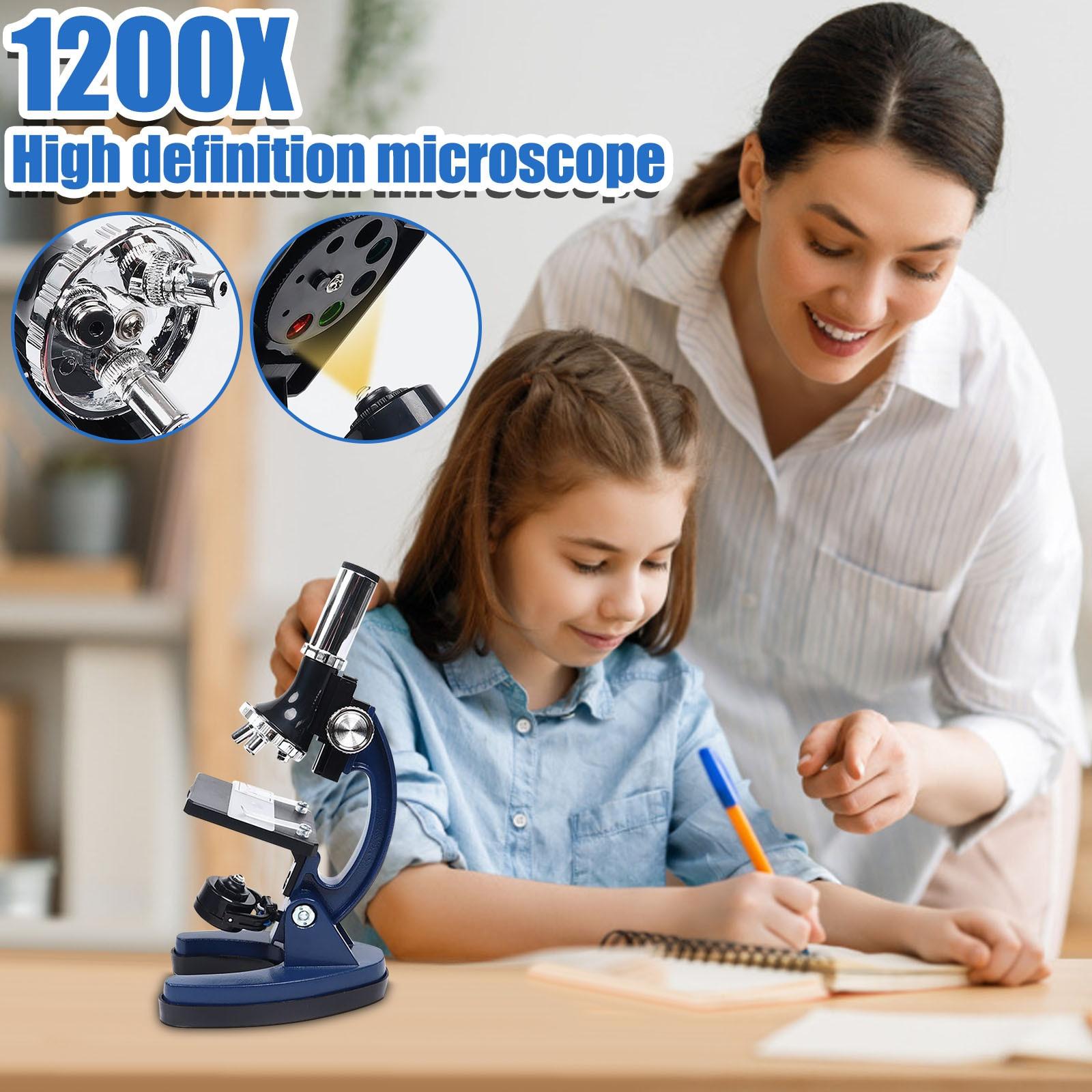 Microscopio para estudiantes, instrumento de aprendizaje de observación científica, cámara de tecnología azul, Juguetes Fidget, para niños y Chico, 1200 veces