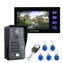 7 cal wideo domofon telefoniczny dzwonek do drzwi z hasło RFID IR-CUT 1000TV linii bezprzewodowa kamera zdalna kontrola dostępu System