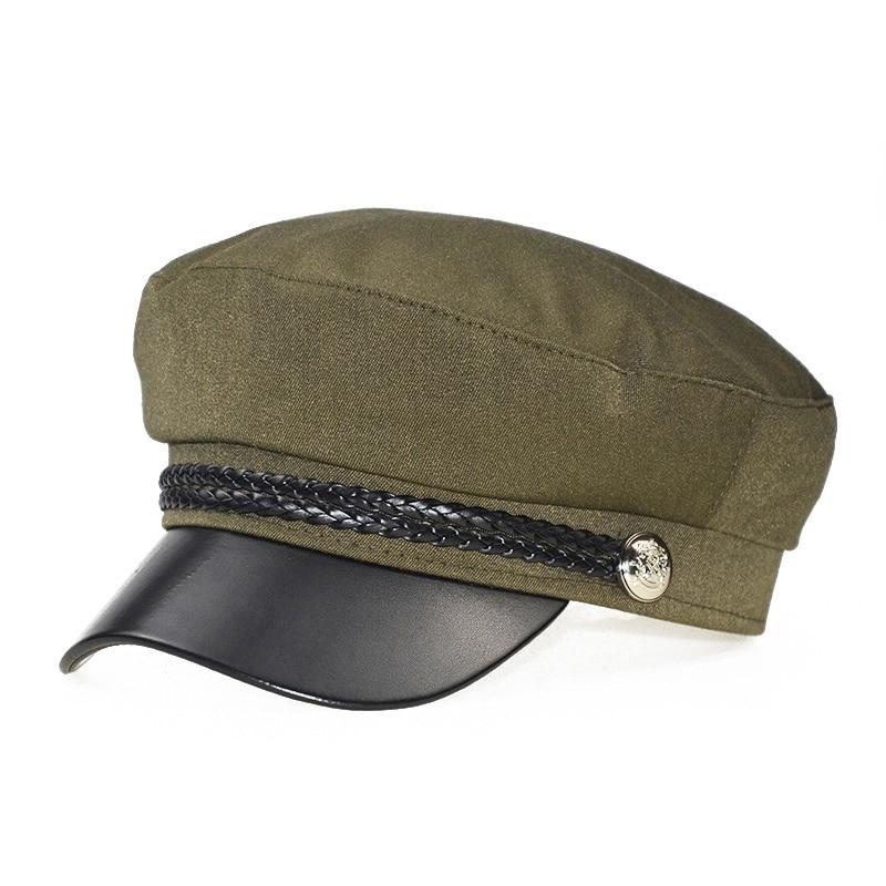 Зимняя женская Повседневная Военная шляпа винтажная мягкая хлопковая шерстяная плоский берет восьмиугольная кепка Модная элегантная женская шапка высокого качества - Цвет: Армейский зеленый