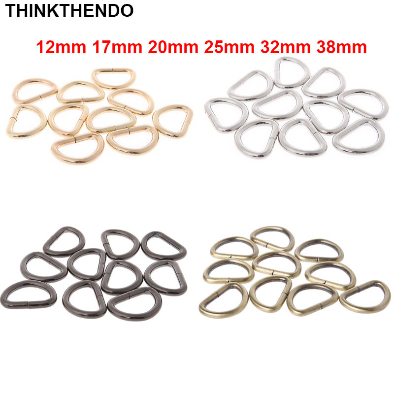 10pcs 12mm 17mm 20mm 25mm 32mm 38mm Inner Width Metal Half Round Shaped Non Welded D Ring DIY Accessories