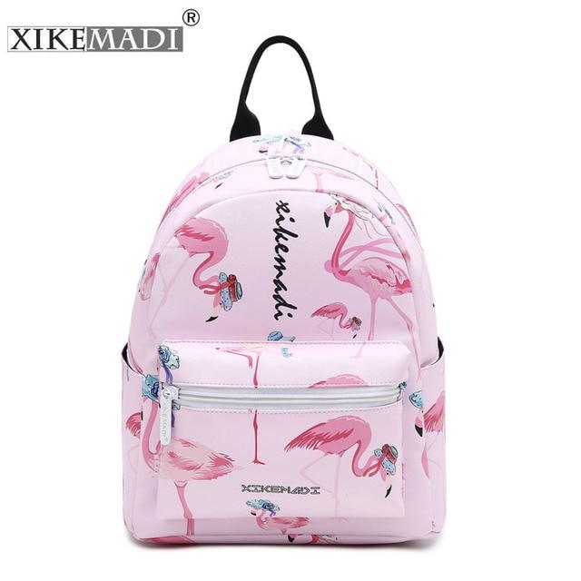 Flamingo Printing Mini Vrouwen Rugzak Waterdicht Nylon College Student Schooltassen Voor Tienermeisjes Boekentas Vrouwelijke Casual Daily