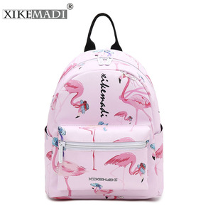 Image 1 - Flamingo Printing Mini Women Backpack Waterproof Nylon College Student School Bags For Teenage Girls Bookbag female Casual Daily