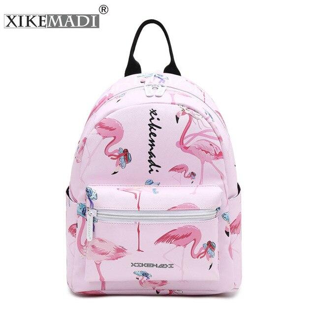Flamingo Printing Mini Women Backpack Waterproof Nylon College Student School Bags For Teenage Girls Bookbag female Casual Daily