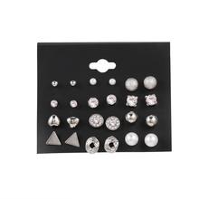 EN 12 Pairs Flower Women #8217 S Earrings Set Pearl Crystal Stud Earrings Boho Geometric Tassel Earrings For Women 2020 Jewelry Gift cheap zinc Alloy CN(Origin) TRENDY Metal Fashion ENL0368 Push-back Girls s Women s Mom Ladies Friends Sister Alloy Crystal Pearl Tassel