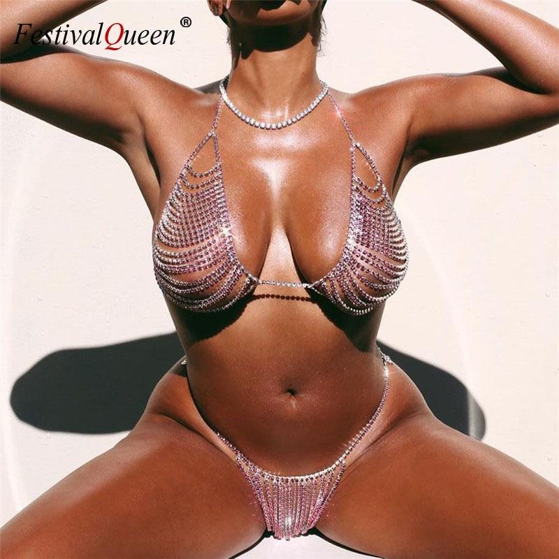 Gold Silver Shiny Crystal Diamonds 2 Piece Sets Low Cut Backless Bra Tops Sexy Bikini Hot Panty Women Club Party Matching Sets