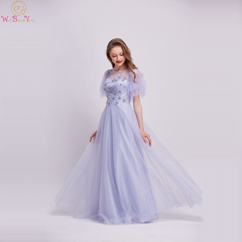 Lavender A-Line Evening Dresses 2019 New Sheer Short Sleeves Crystal Beading Prom Party Gowns Floor Length Long Robe De Soiree